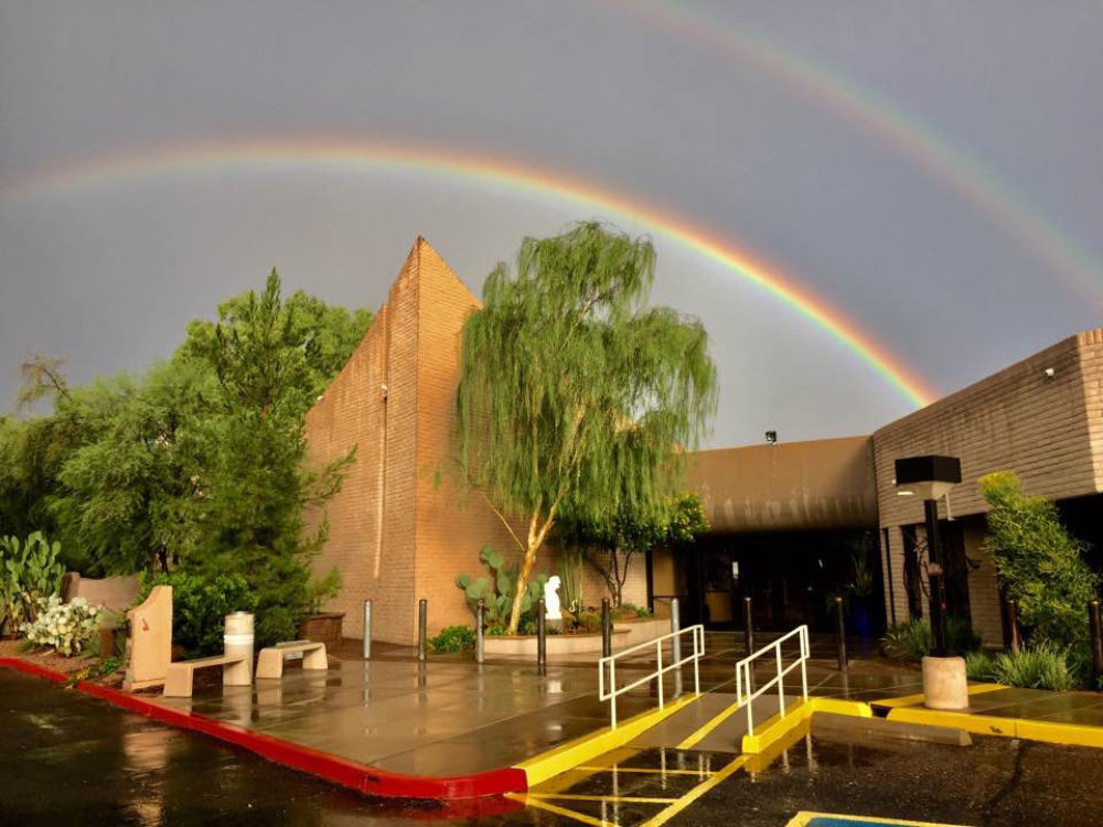 August 3 2017 Temple Solel after the rain double rainbow